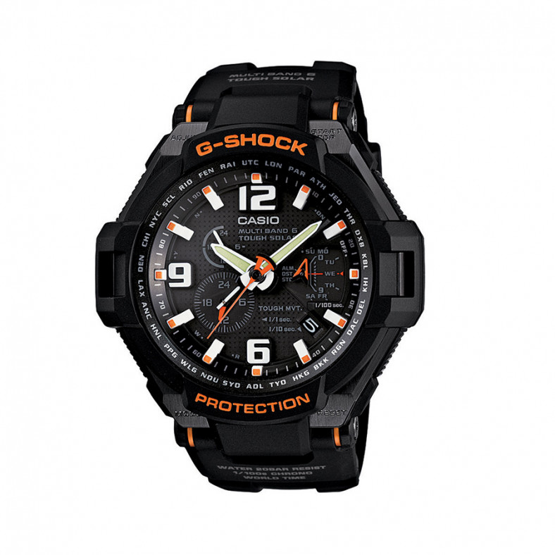 Мъжки спортен часовник Casio G-SHOCK черен с оранжеви надписи и детайли