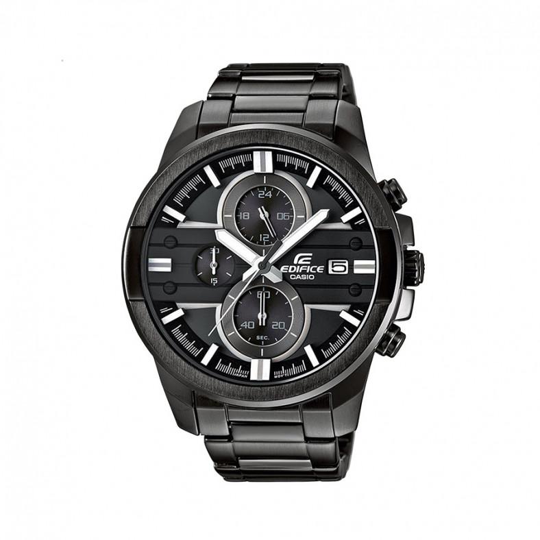Мъжки часовник Casio Edifice черен браслет с бели детайли