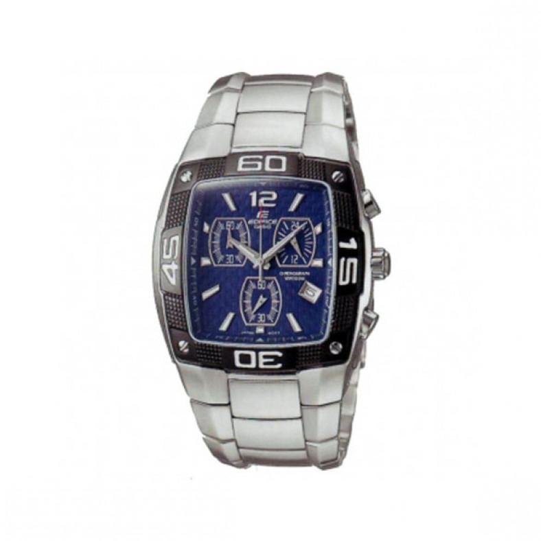 Мъжки часовник Casio Edifice сребрист браслет с правоъгълен циферблат с черен кант