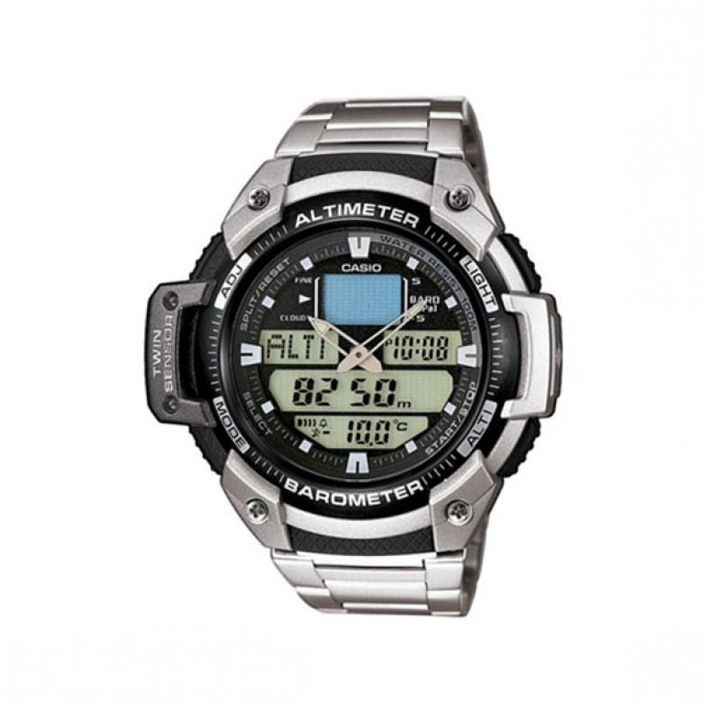 Мъжки часовник Casio Outdoor сребрист браслет с барометър
