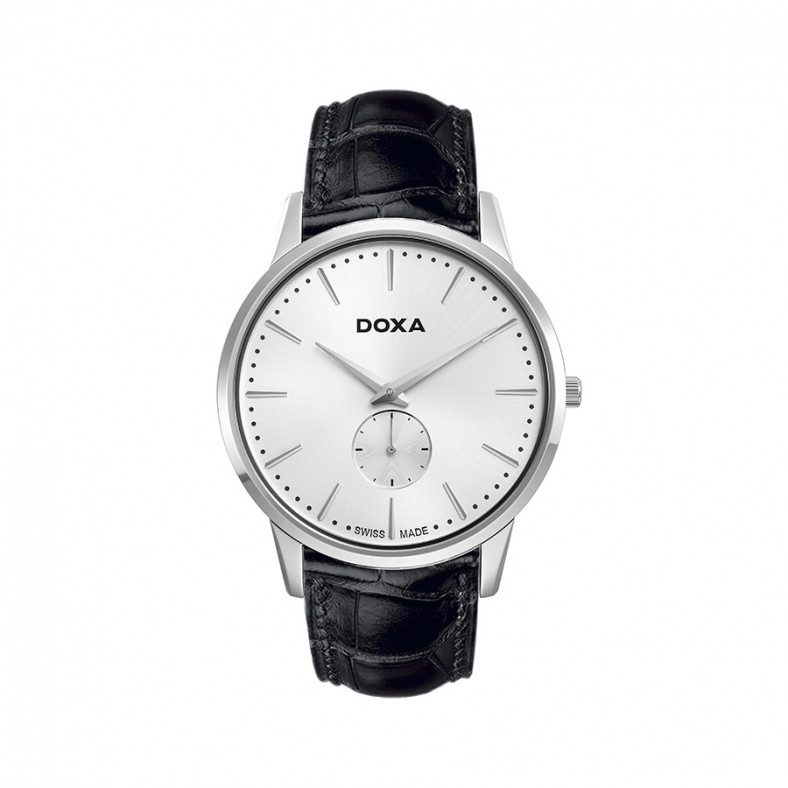 Мъжки часовник DOXA Slim Line черен със сребрист циферблат