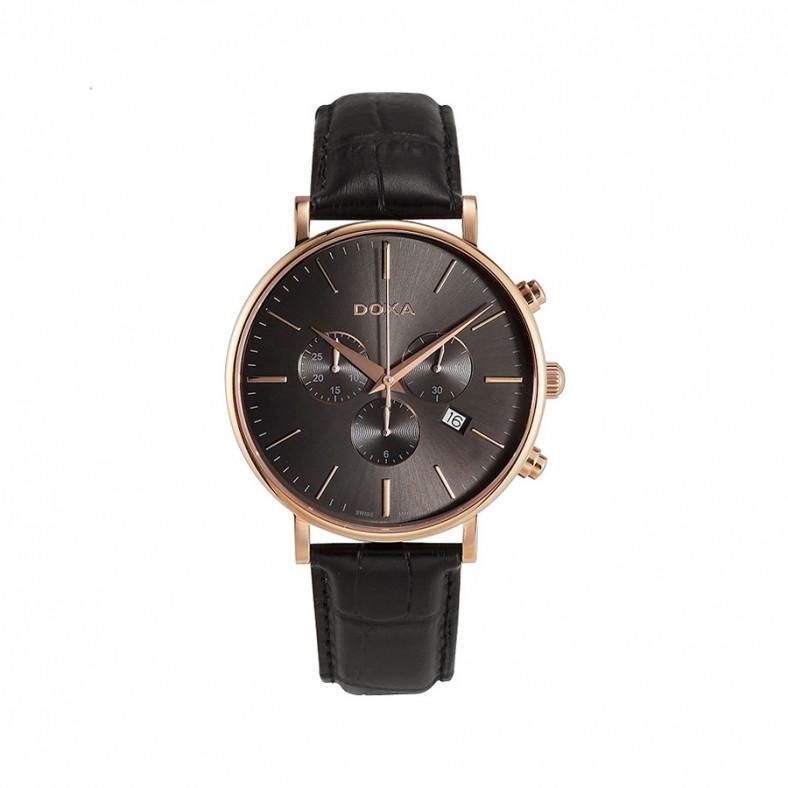 Мъжки часовник DOXA D-Light черен с розова позлата на касата