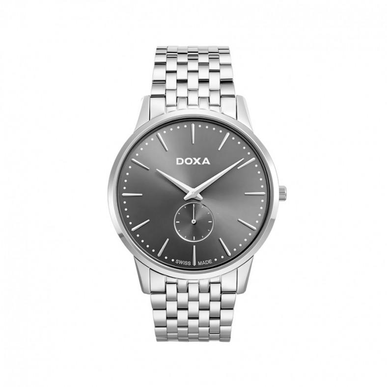 Мъжки часовник DOXA Slim Line сребрист браслет с черен циферблат