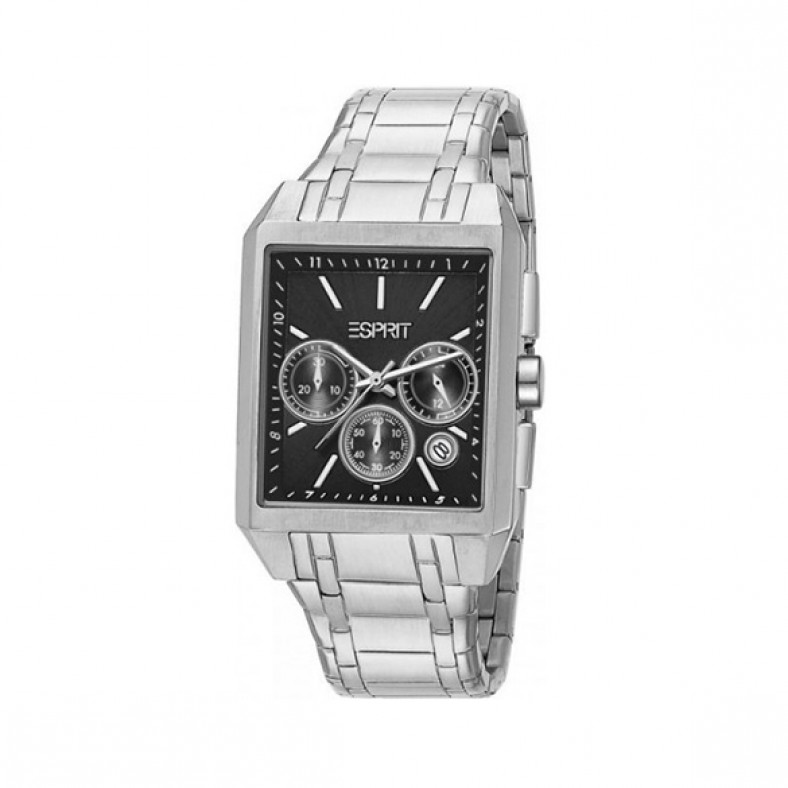 Мъжки часовник Esprit сребрист браслет с черен правоъгълен циферблат