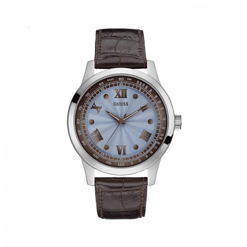Мъжки часовник Guess със син циферблат и кафява каишка