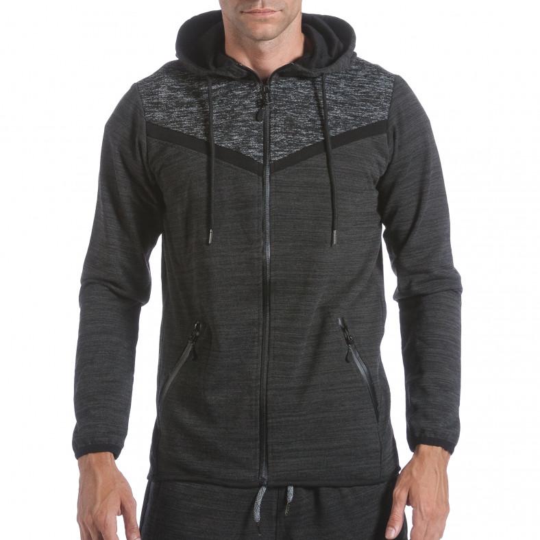 Мъжки черно-сив спортен комплект с вталено горнище Flex Style 6