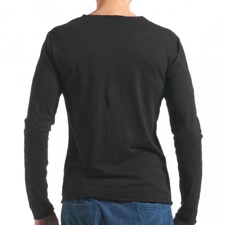 Мъжка черна блуза с дълъг ръкав Man 4