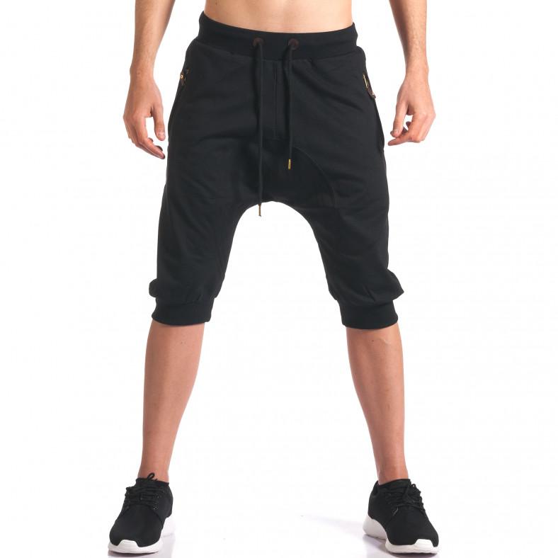 Черни мъжки къси потури с ципове на джобовете Enos 5