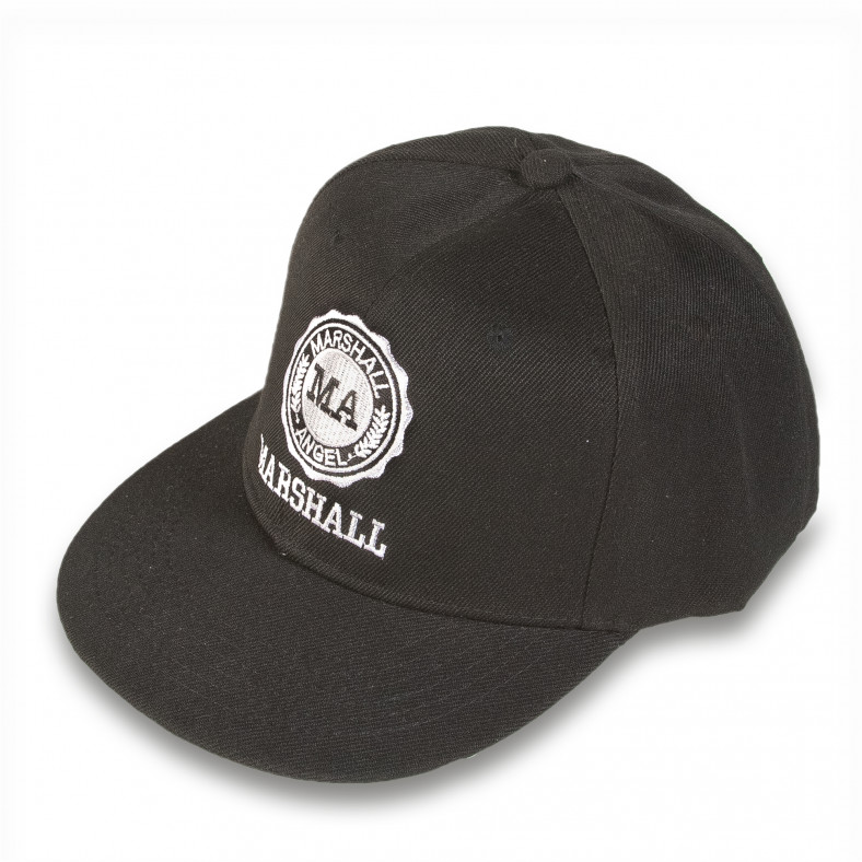 Мъжка черна шапка с права козирка и емблема Marshall 4