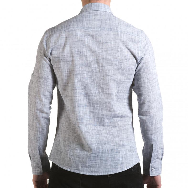 Мъжка светло сива риза изчистен модел Buqra 5