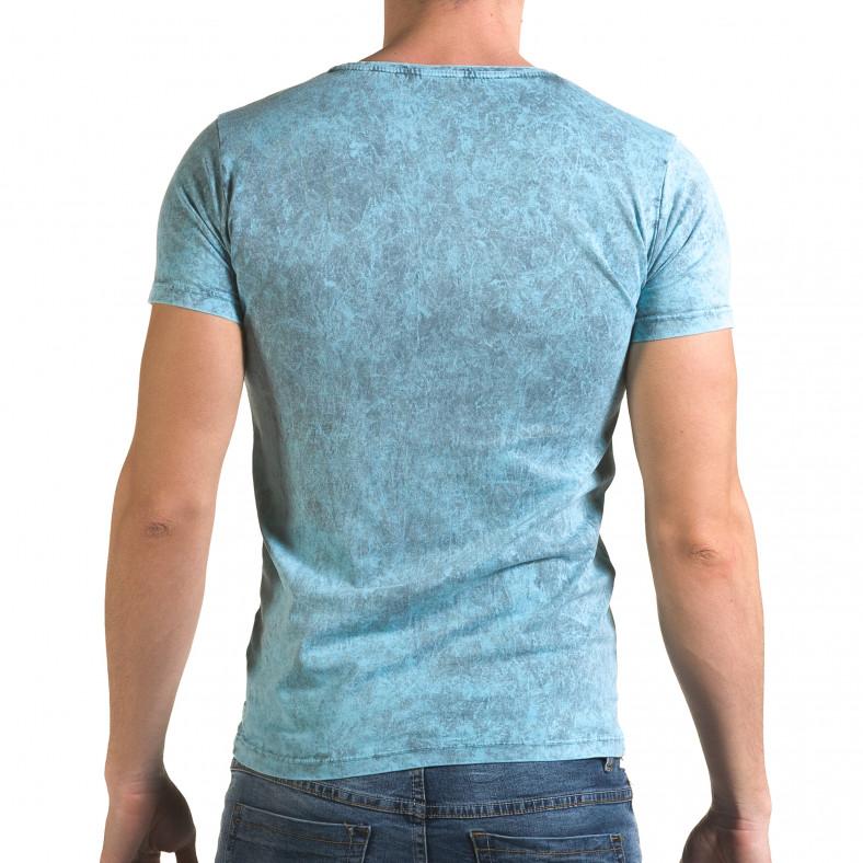Мъжка синя тениска с надпис Follow Lagos 4