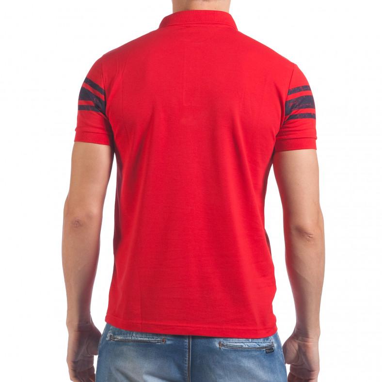 Мъжка червена тениска с яка със син номер 79 Franklin 4