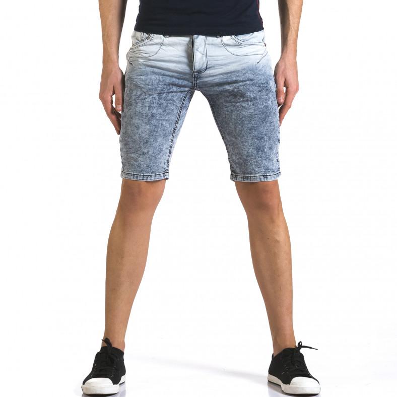 Мъжки светло сини къси дънки с преливащ цвят Justing 5