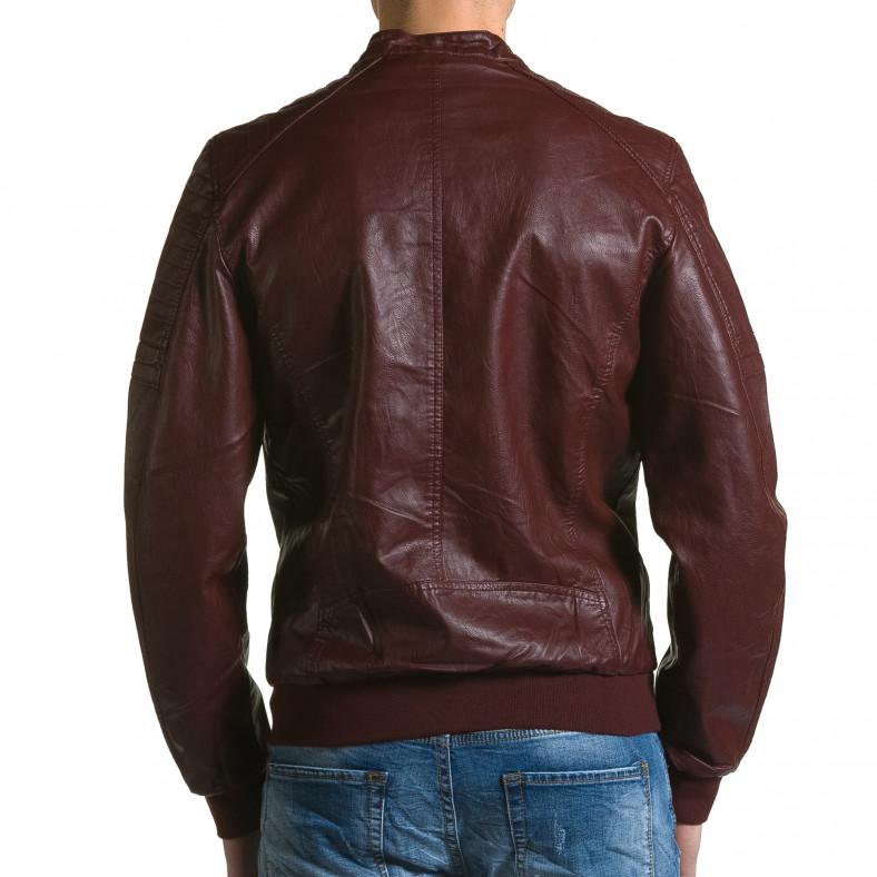Мъжко червено кожено яке с джобове на гърдите Forex 5