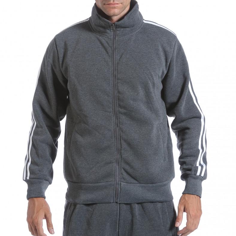 Мъжки тъмно сив спортен комплект с бели ленти Eadae Wear 6