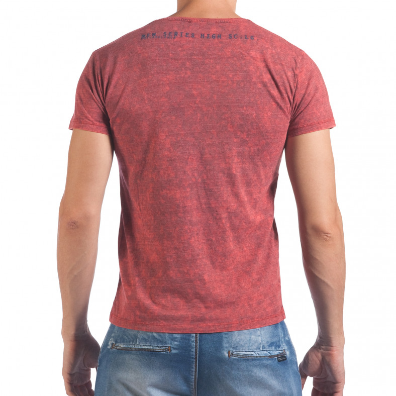 Мъжка червена тениска с избелял ефект и надпис Lagos 4