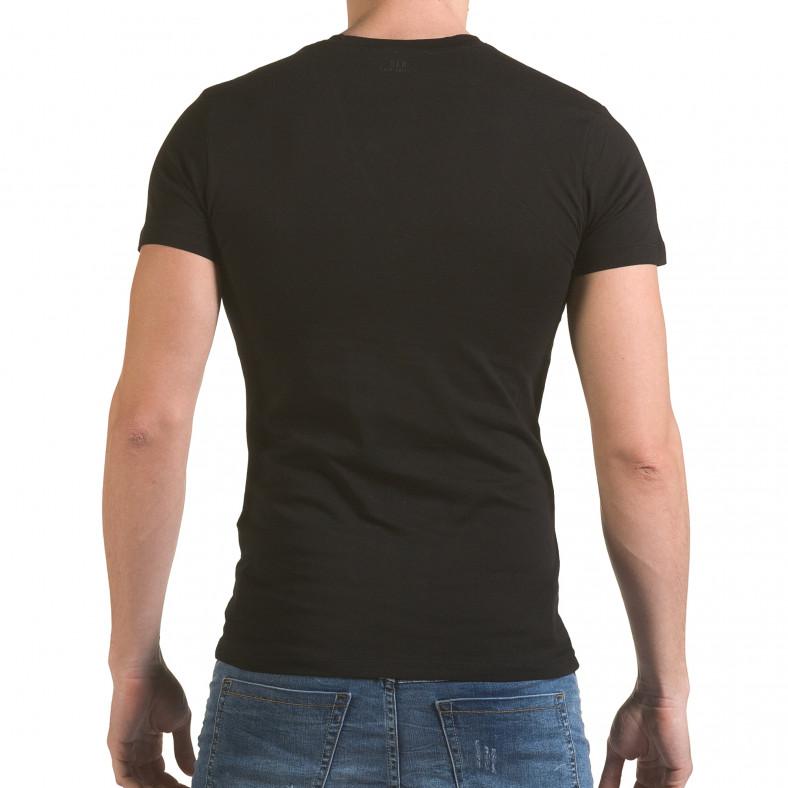 Мъжка черна тениска с фигуралнен принт SAW 4
