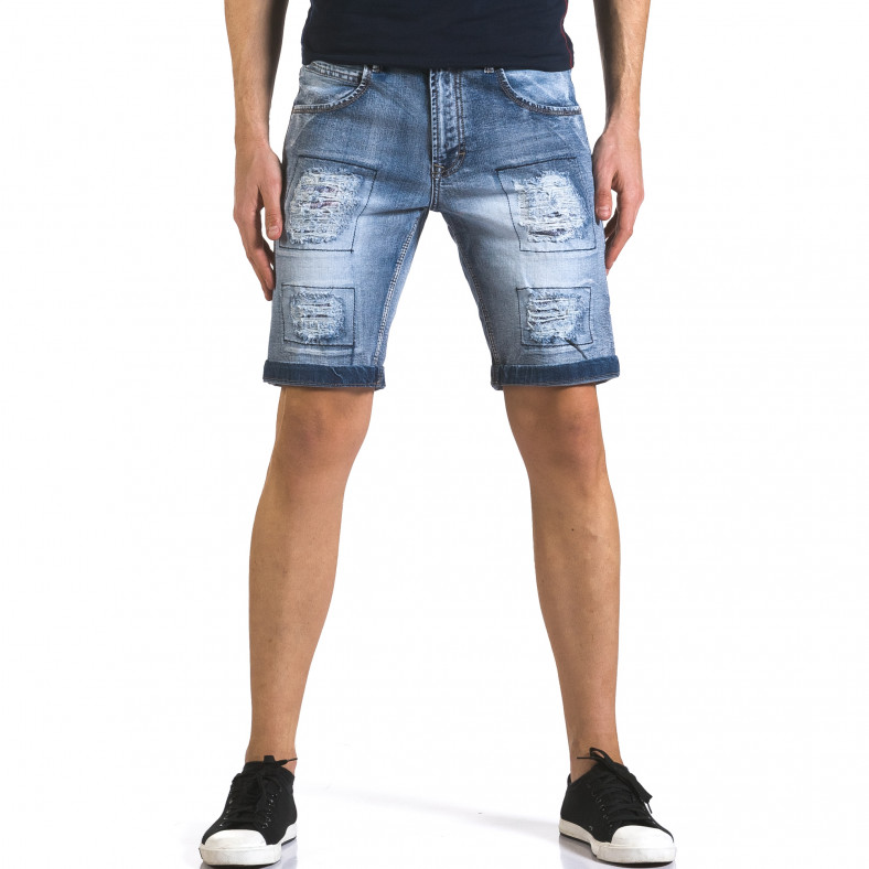 Мъжки къси дънки със скъсвания и кръпки Bruno Leoni 5