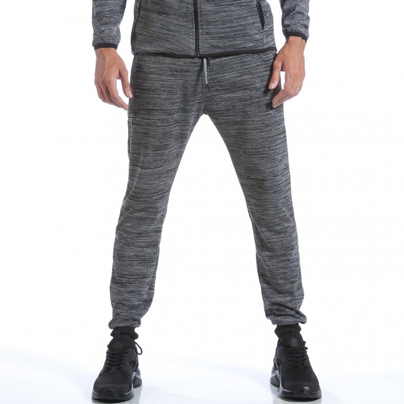 Мъжки сив спортен комлект с вталено горнище Flex Style 6