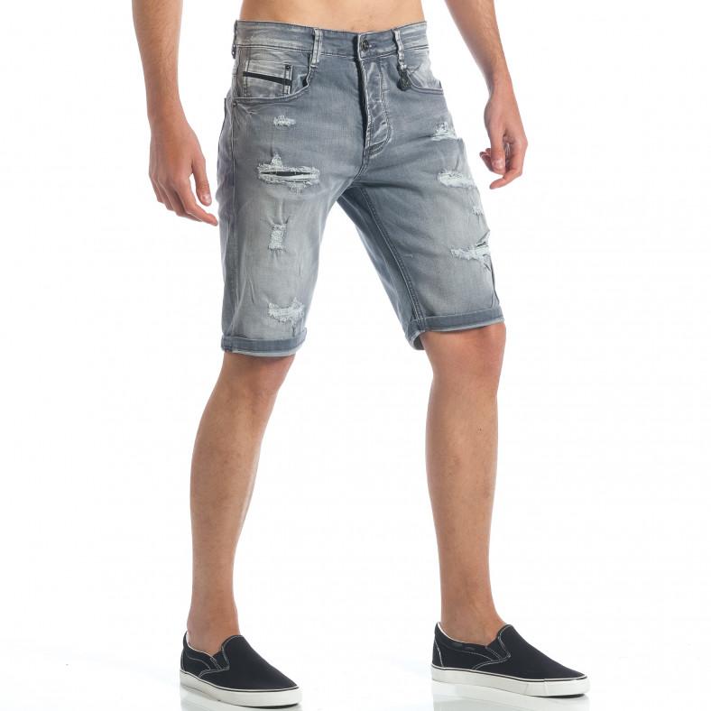 Мъжки сиви къси дънки с големи скъсвания Y-Two 5