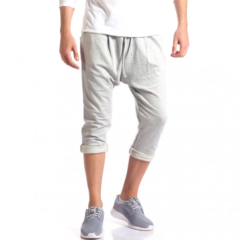 Мъжки потури 3/4 с джобове отпред светло сиво райе FCSM 5