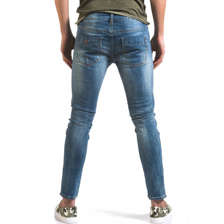 Мъжки светло сини дънки слим с прокъсвания по крачолите Jack Berry 5