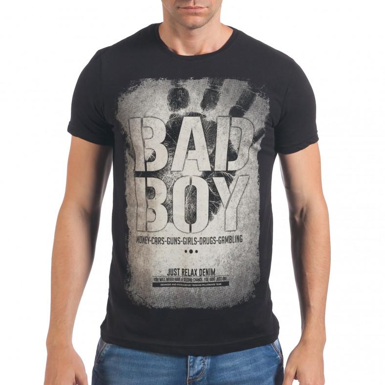 Мъжка черна тениска Bad Boy Just Relax 4