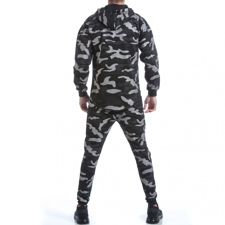Мъжки спортен комплект черно-сив камуфлаж Top Star 6