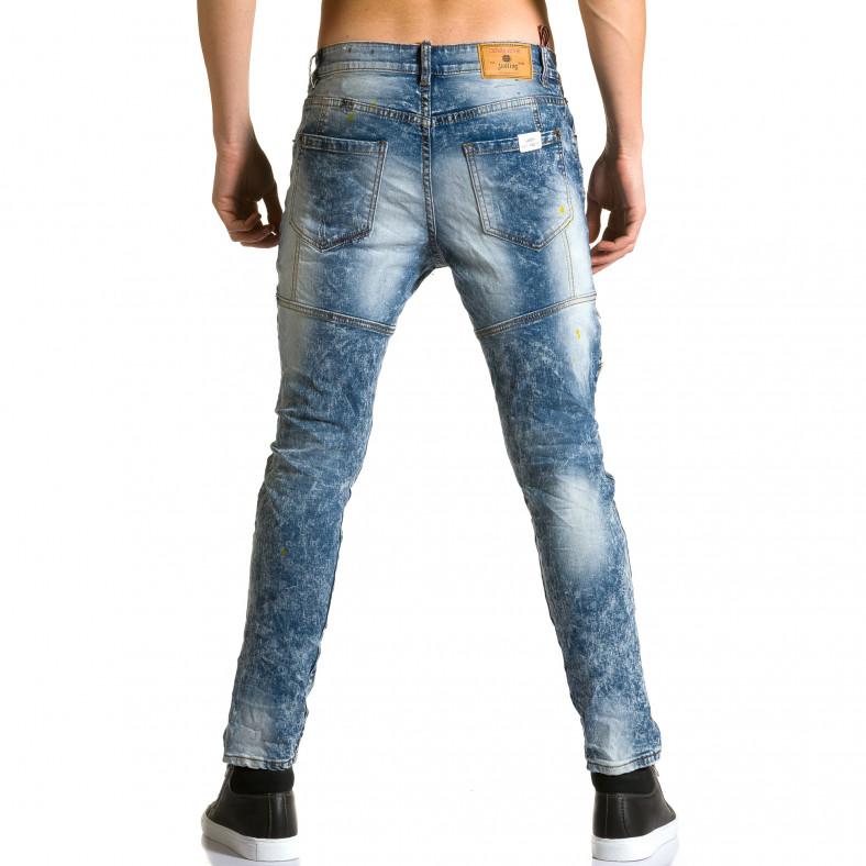 Мъжки светло сини дънки с пръски боя и скъсвания Justing 5