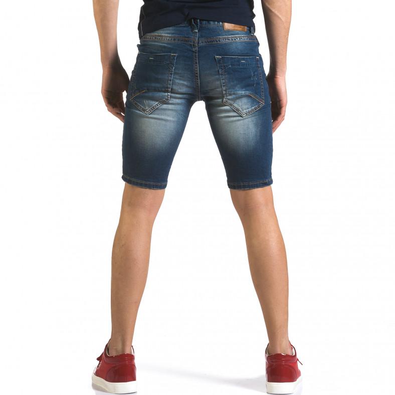 Мъжки къси дънки с избелял ефект на плата Flex Style 5