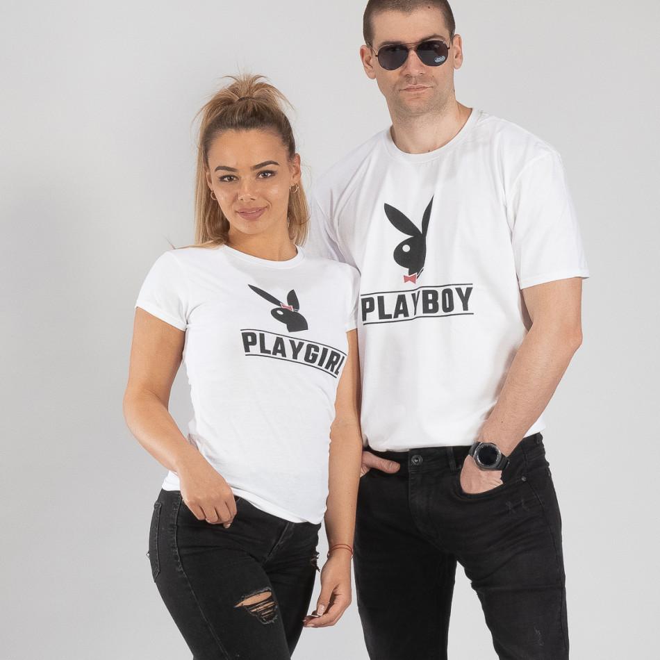 Тениски за двойки Playboy бели TMN-CP-250