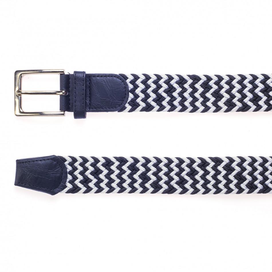 Мъжки плетен колан в синьо и бяло it250915-9