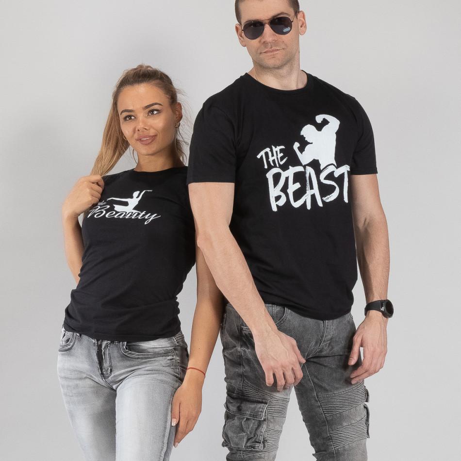 Тениски за двойки Beauty & Beast черни TMN-CP-010