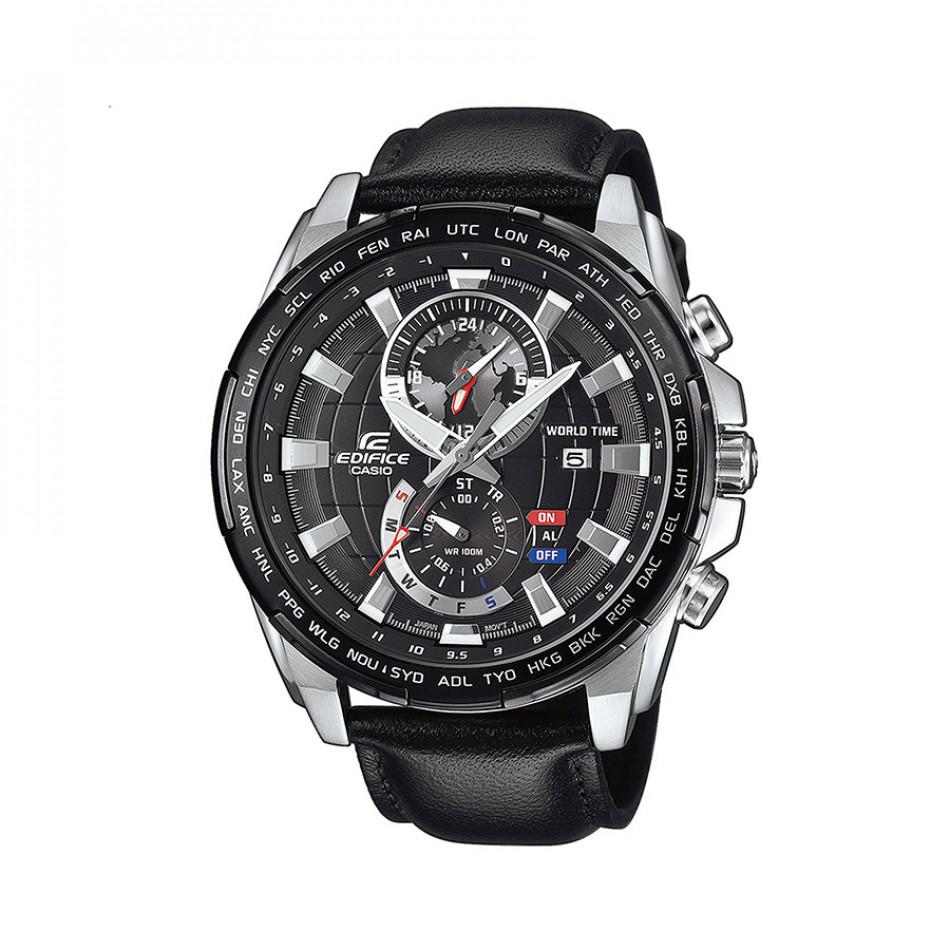 Мъжки часовник Casio Edifice с черен циферблат и черна кожена каишка EFR550L1AVUEF