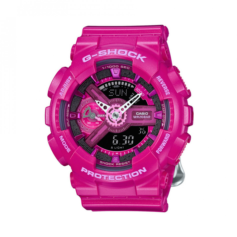 Мъжки спортен часовник Casio G-SHOCK розов с бели стрелки GMAS110MP4A3ER