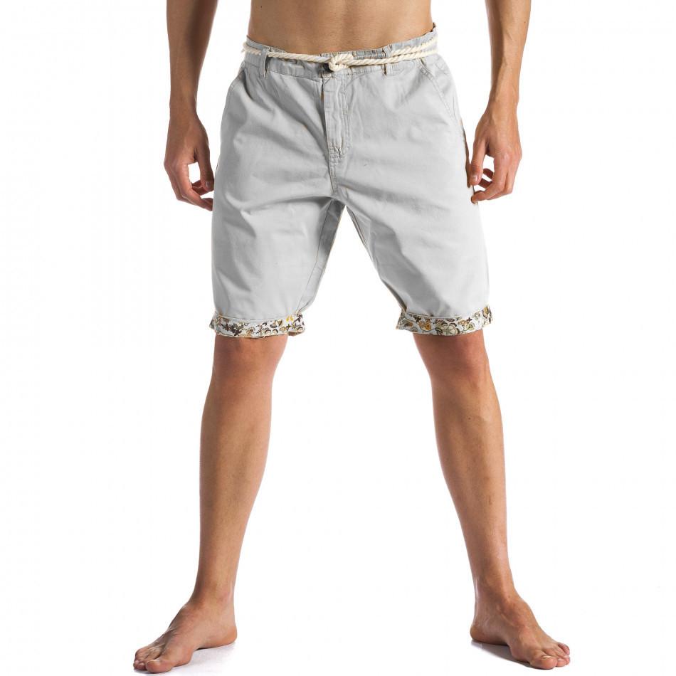 Мъжки сиви къси панталони с въжен колан ca090514-5