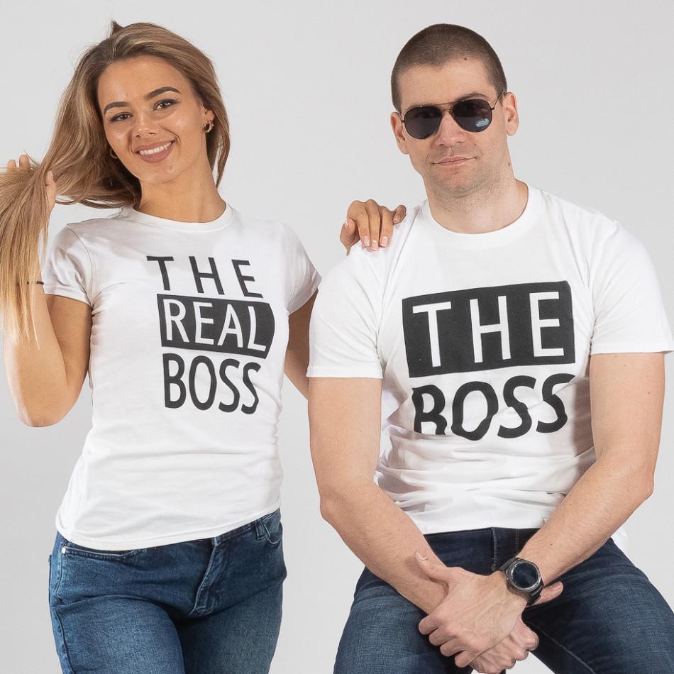 Тениски за двойки The Actual Boss бели TMN-CP-246