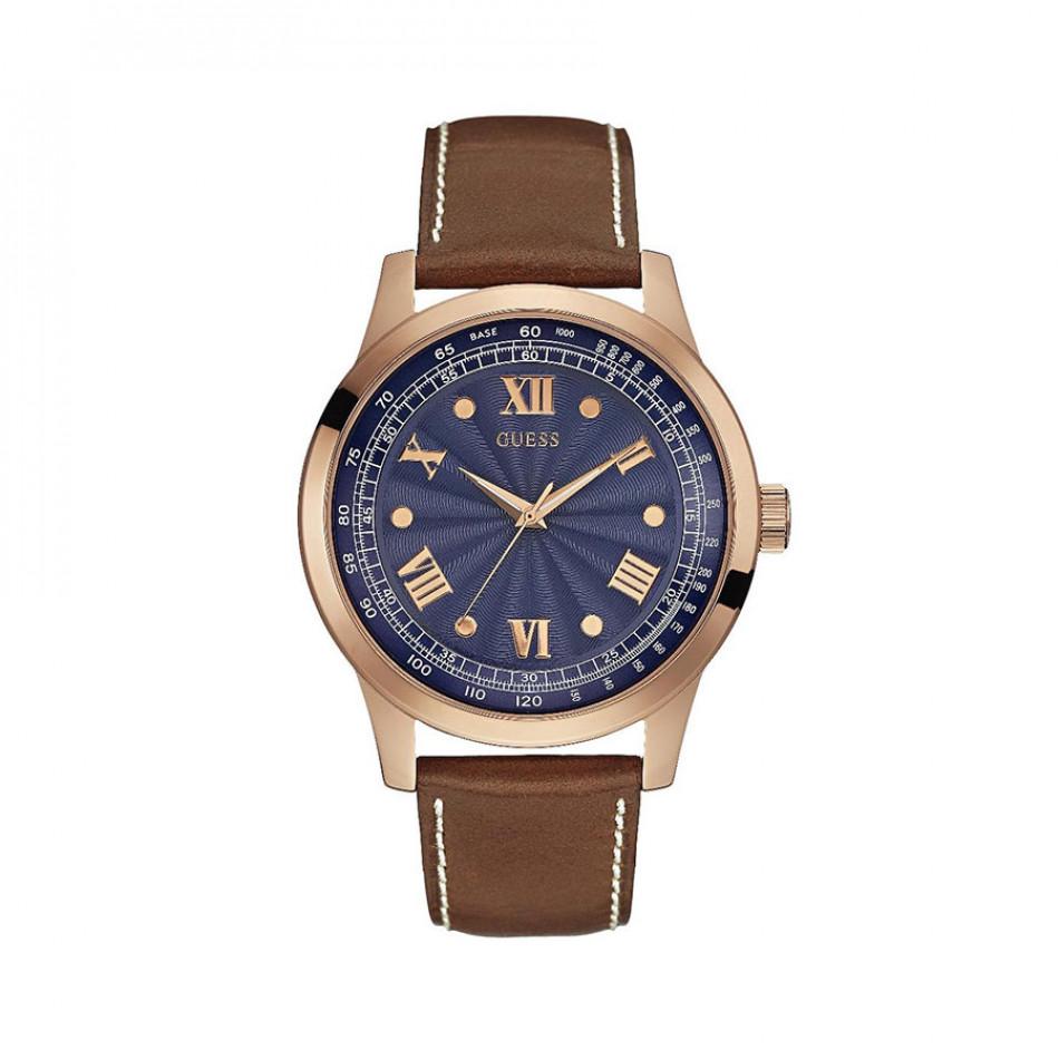 Мъжки часовник Guess с розова позлата на касата и син циферблат W0662G5