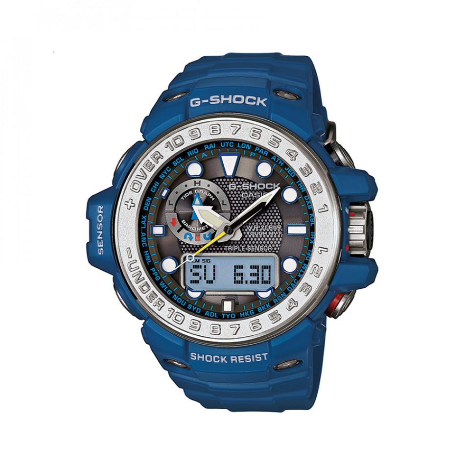 Мъжки спортен часовник Casio G-SHOCK син със сив ринг на циферблата gwn10002aer