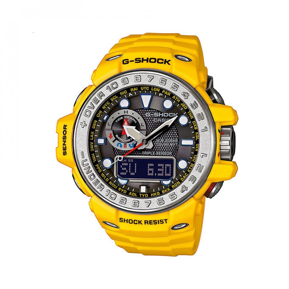 Мъжки спортен часовник Casio G-SHOCK жълт със сребрист ринг на циферблата GWN10009AER