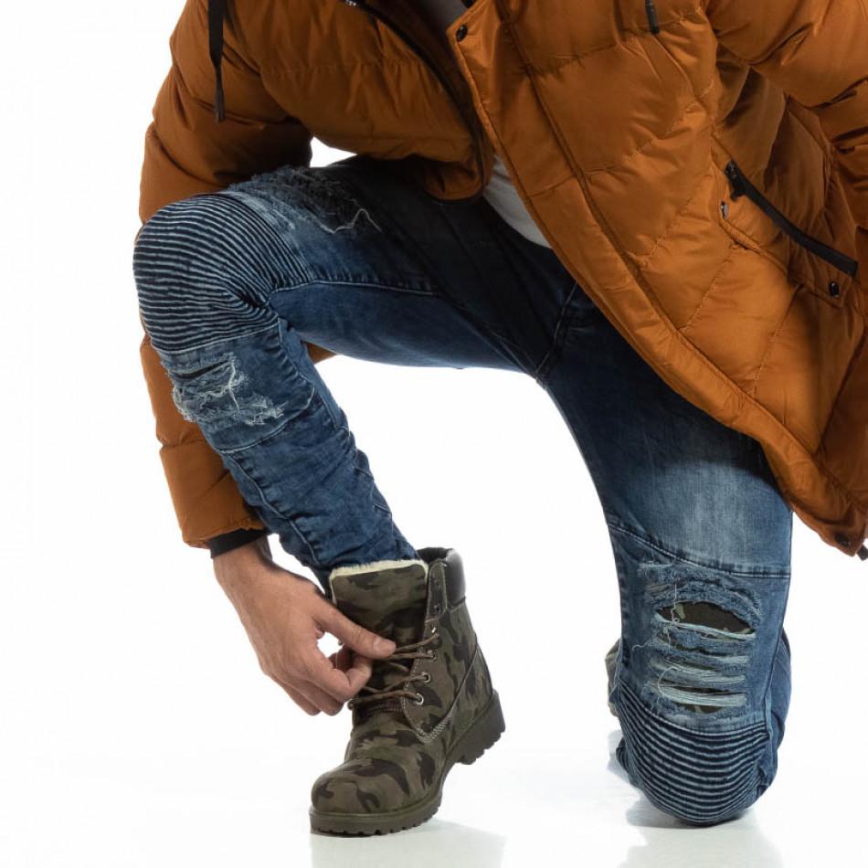 Рокерски мъжки дънки с камуфлажни кръпки it261018-1
