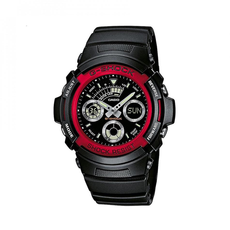 Мъжки спортен часовник Casio G-SHOCK черен с червен ринг на циферблата AW5914AER