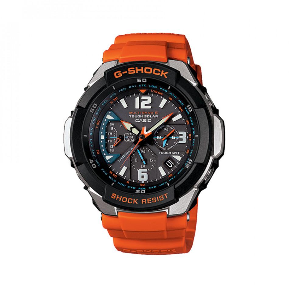 Мъжки спортен часовник Casio G-SHOCK с черна каса и оранжева каишка GW3000M4AER