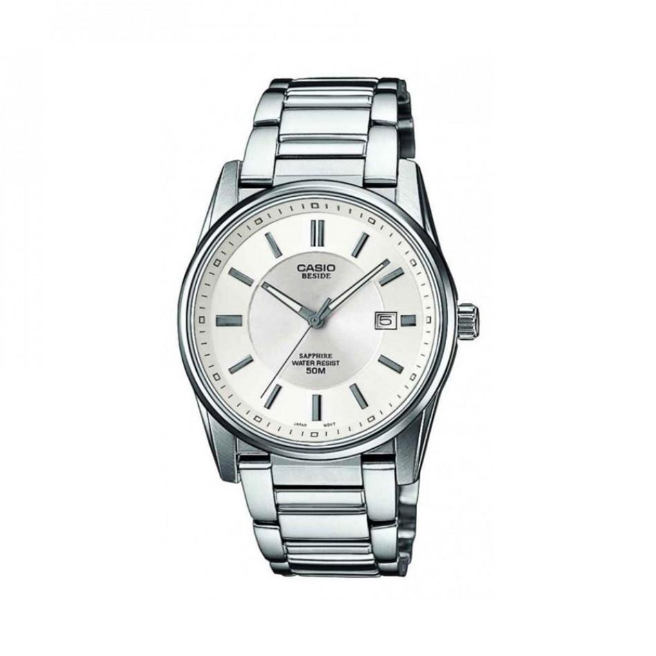 Мъжки часовник Casio Beside сребрист браслет с автоматична дата BEM111D7AVEF