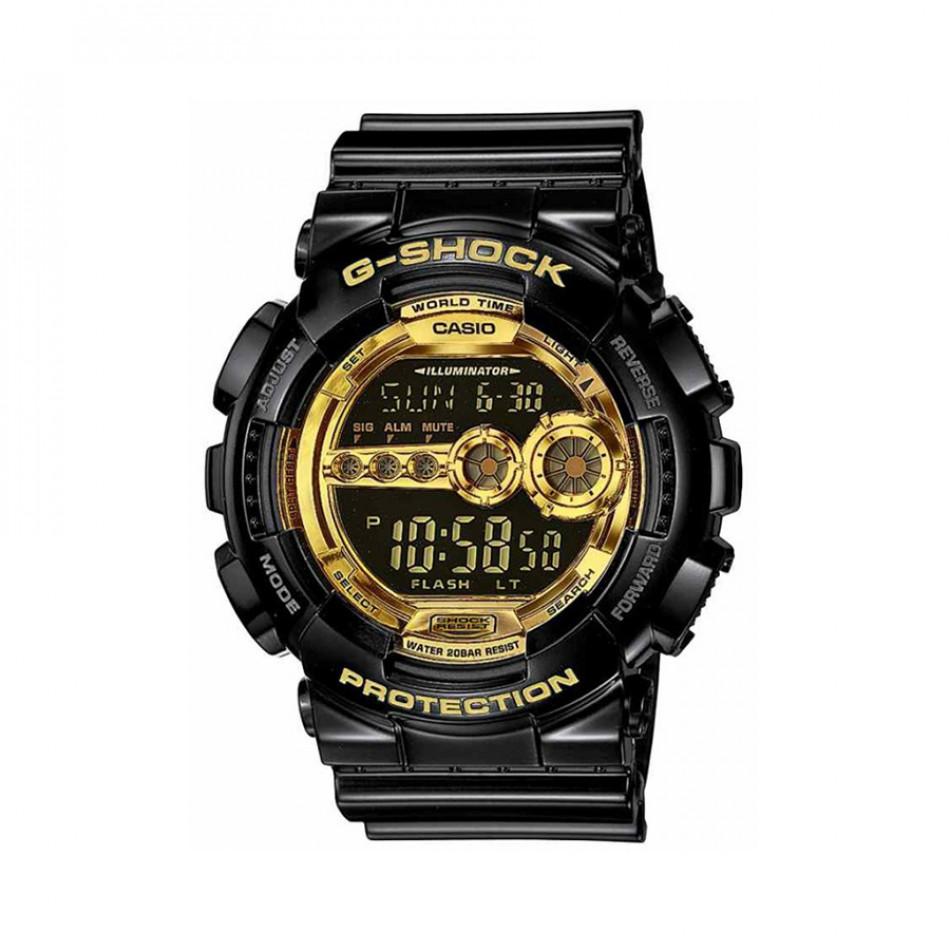 Мъжки спортен часовник Casio G-SHOCK черен със златисти детайли на дисплея GD100GB1ER