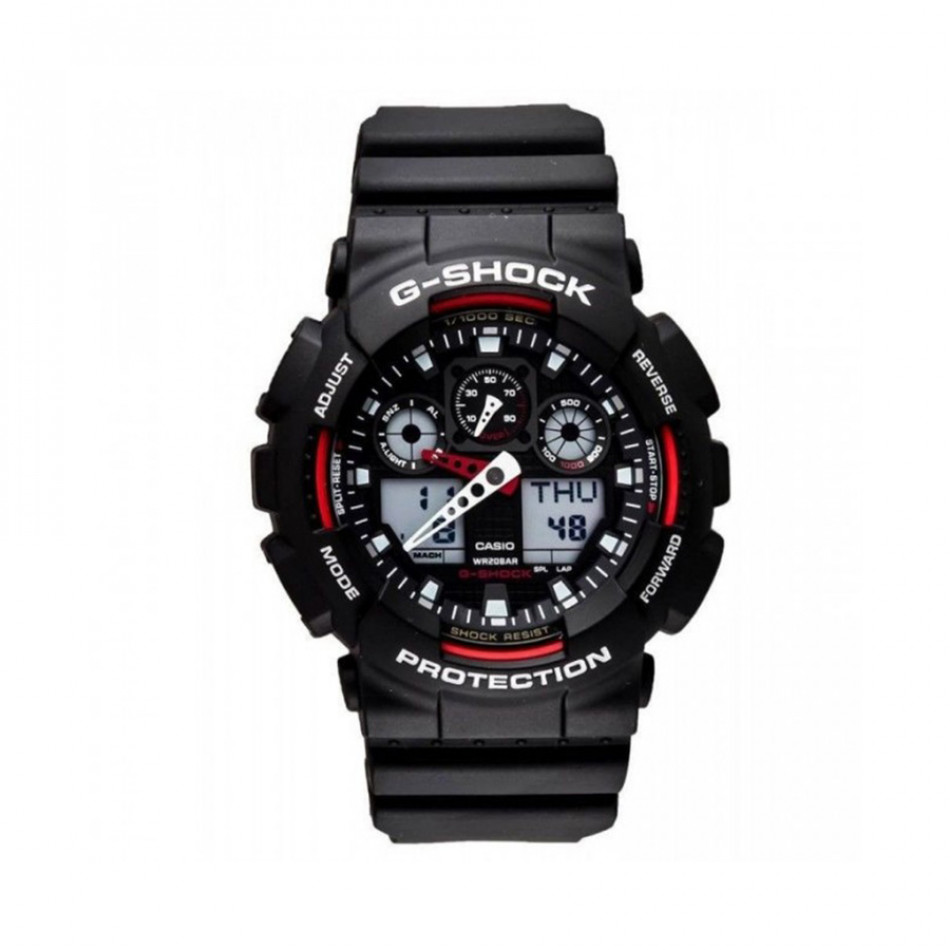 Мъжки спортен часовник Casio G-SHOCK черен с червени детайли GA1001A4ER