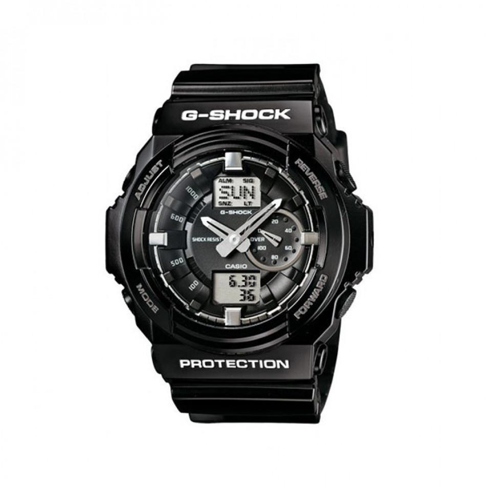 Мъжки спортен часовник Casio G-SHOCK черен със сребристи стрелки GA150BW1AER