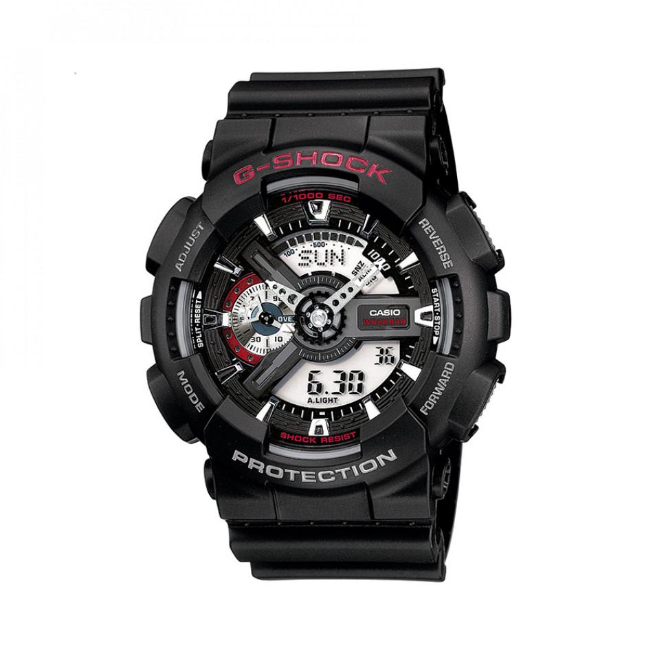 Мъжки спортен часовник Casio G-SHOCK черен с червен надпис GA1101AER