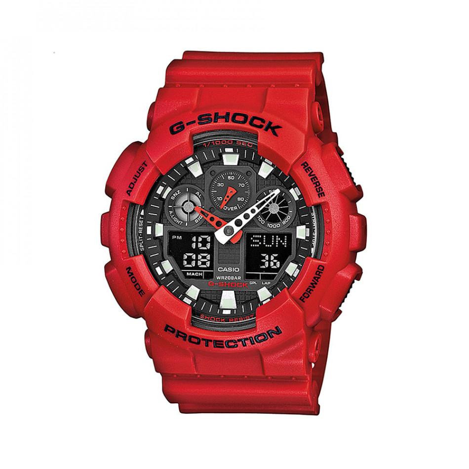 Мъжки спортен часовник Casio G-SHOCK червен със сив циферблат GA100B4AER