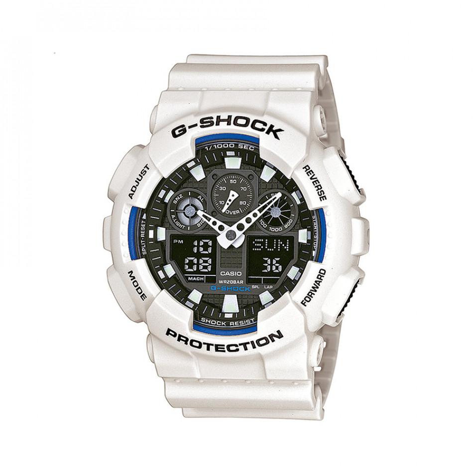 Мъжки спортен часовник Casio G-SHOCK бял с черен циферблат GA100B7AER